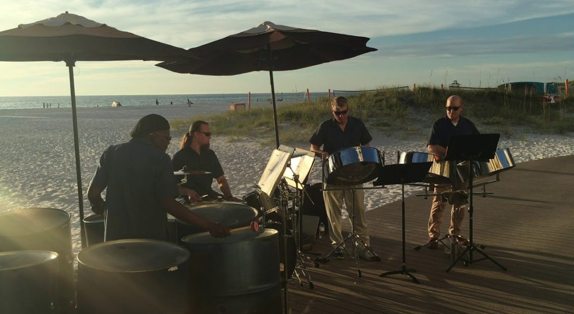 "Steel drum band playing ""Island in the Sun"""