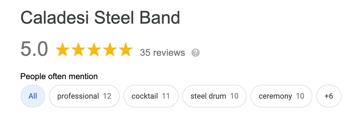 Caladesi Steel Band Google Reviews